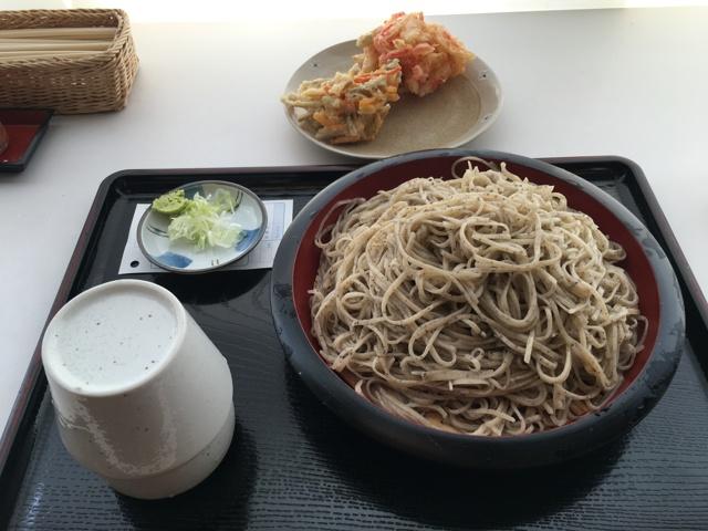 大もりそば(会津)と紅生姜入りかき揚げとゴボ天