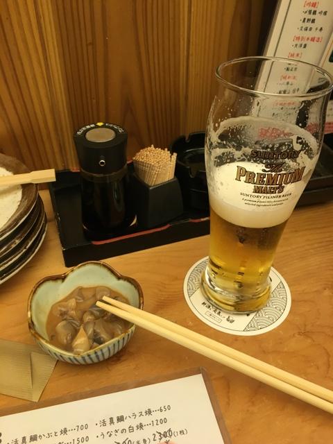 5円ビールと塩辛