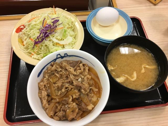 牛めしミニ+生野菜生玉子セット