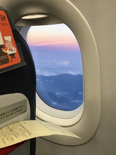 飛行機から望む夕暮れ