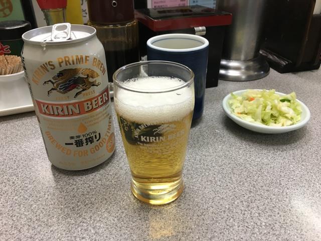 缶ビールでスタート